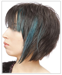 Black bob with blue highlights